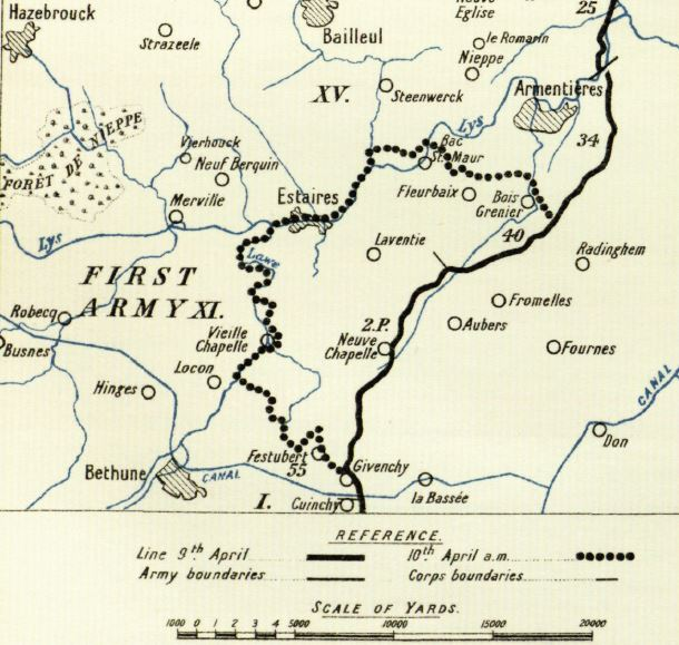 Partof a map from the British Officia History of Military Operations, France and Flanders, 1918 volume II. Thee German break-in on 9 April 1918. German foces cross the Lys at Bac St Maur and the Lawe near Pont-Riqueul
