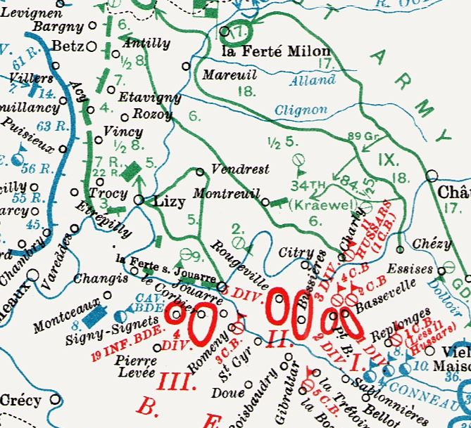 Extract from a map contained in the British Official History of Military Operations, France and Flanders, 1914 volume I. Crown copyright.
