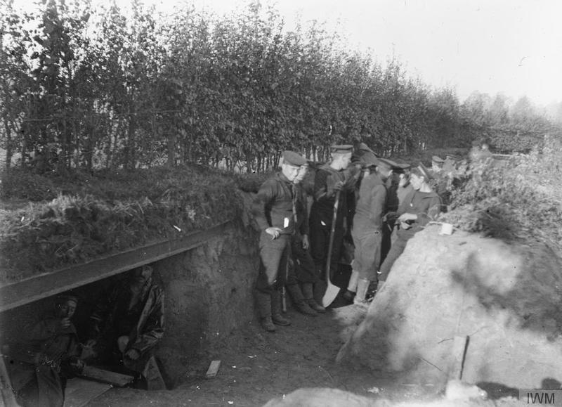 Men of the Royal Naval Division in trenches near Oude God (Vieux Dieu), Antwerp, 7 October 1914. Imperial War Musuem image Q14774