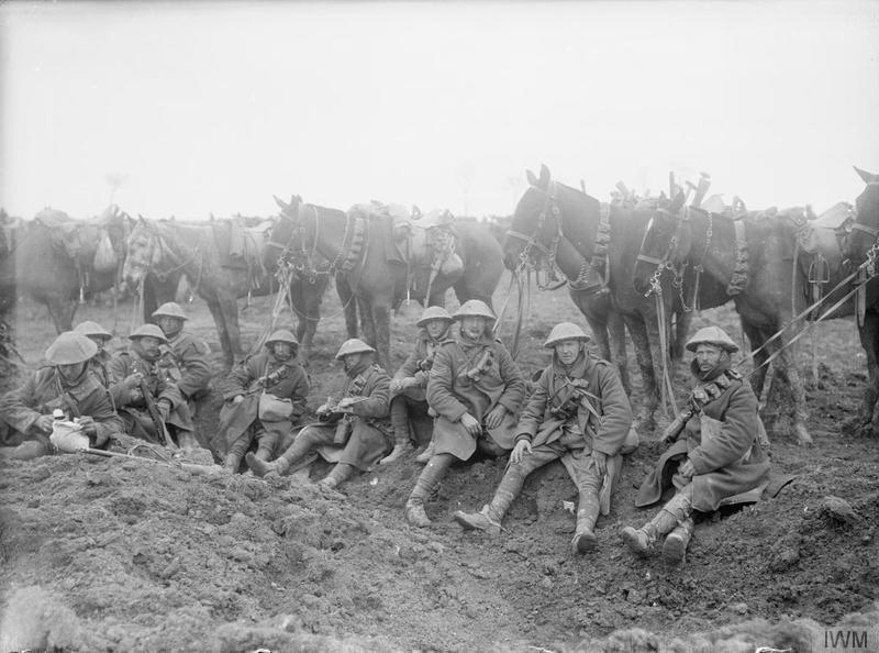 Battle of the Scarpe. British cavalry resting alongside the Arras-Cambrai road, April 1917. Imperial War Museum image Q2031