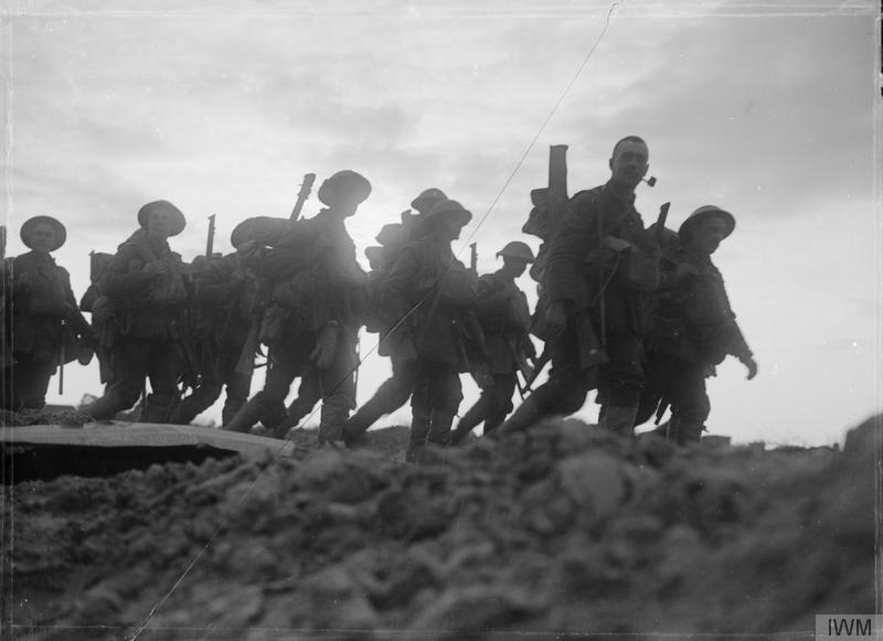 British troops moving up to the trenches near Arras, 29 April 1917.Imperial War Museum image Q2105