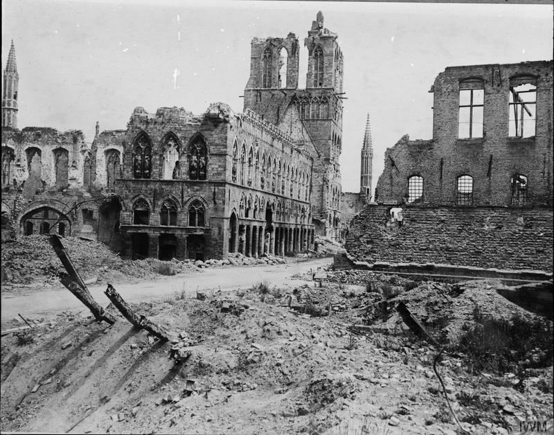 The ruined Cloth Hall, Ypres, as seen in May 1916. Imperial War Museum image Q2921