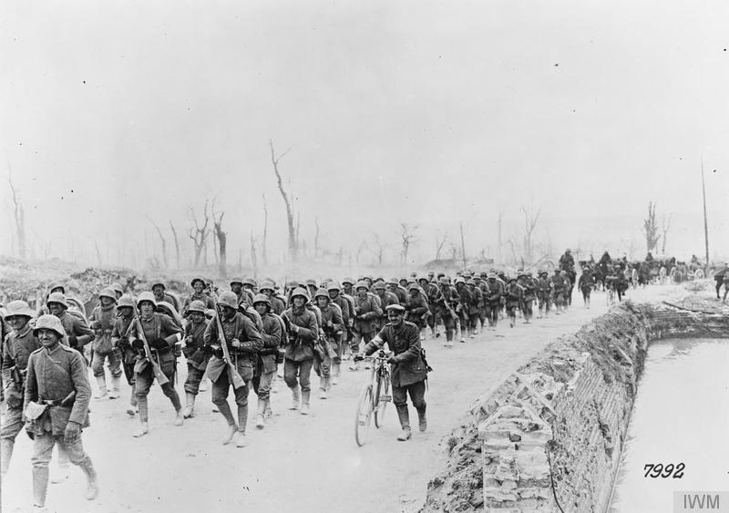 The Operation Michael. German reserves marching forward along the Albert road, March 1918. Imperial War Museum image Q51466