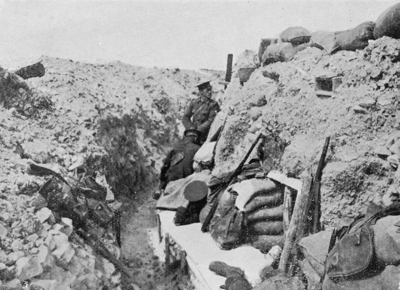 Troops of the 2nd Battalion, Oxfordshire and Buckinghamshire Light Infantry (Ox and Bucks LI) manning French trenches at Vermelles, June 1915. Imperial War Museum image Q52982W