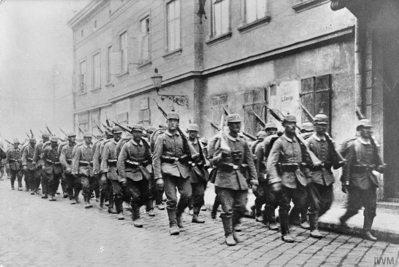 Imperial War Museum image Q56791. German troops on the march.