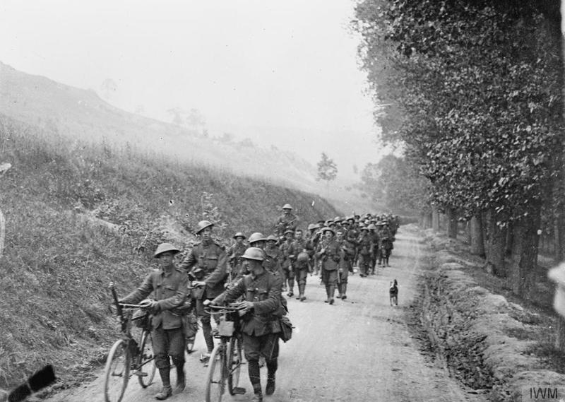 British infantry on the Vaux-sur-Somme road, 1916. Imperial War Museum image Q69969
