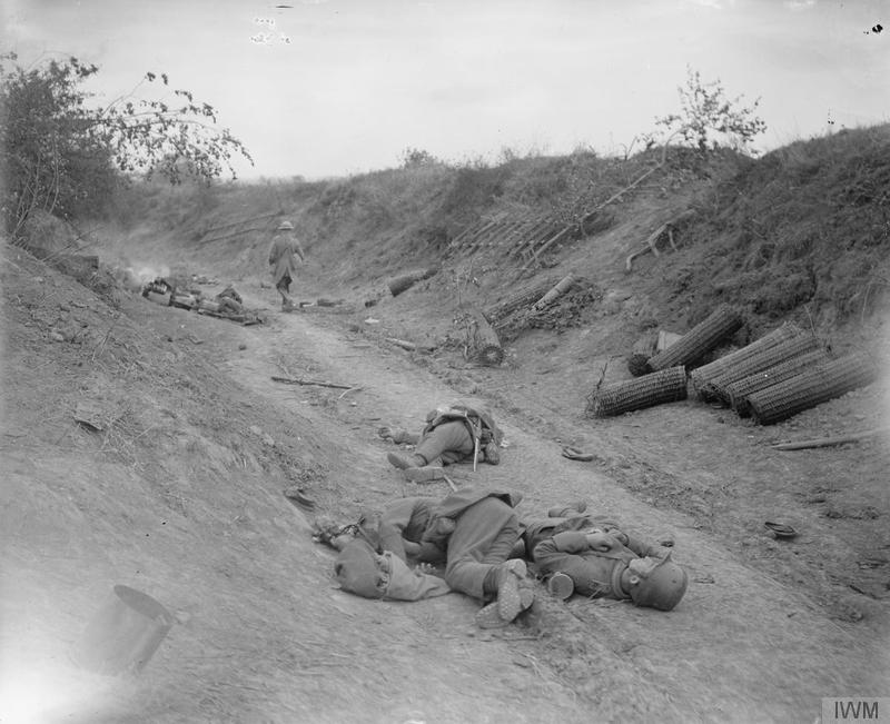 Battle of the Drocourt-Queant Line. Dead German soldiers in sunken road that was strongly held by machine guns but was taken by the 4th Division, near Dury, 2 September 1918. Imperial War Museum image Q7030