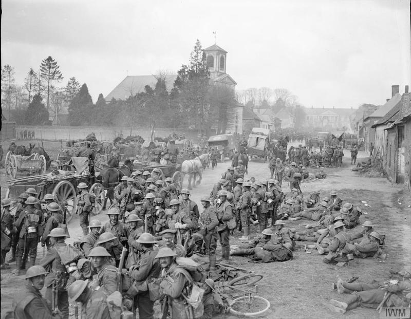 Battle of Rosières (Operation Michael). Concentration of the 17th Division at Henencourt as the V Corps reserve after evacuation. Photograph taken at Hermies, 26 March 1918. Imperial War Museum image Q8622