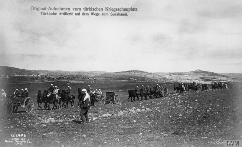Turkish field artillery advancing towards the Suez Canal, 1915. Imperial War Museum image Q86535