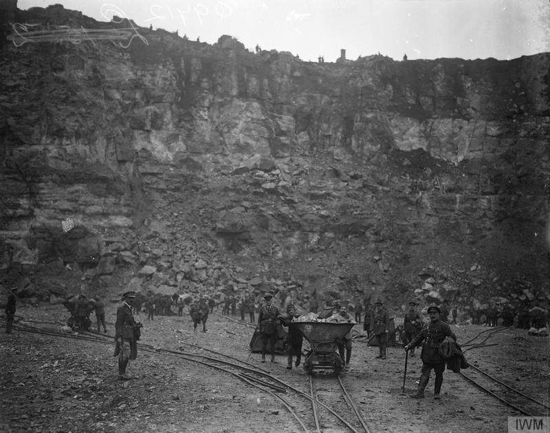 Prisoners working in the marble quarries at Marquise, 25 November 1918. Imperial War Museum image Q9712