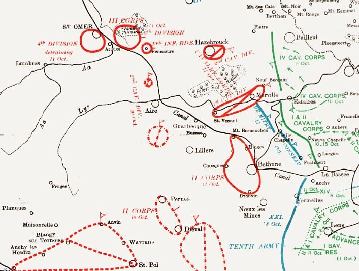 Part of map included in British Official History of Military Operations, France and Flanders, 1914 volume II. Crown copyright.