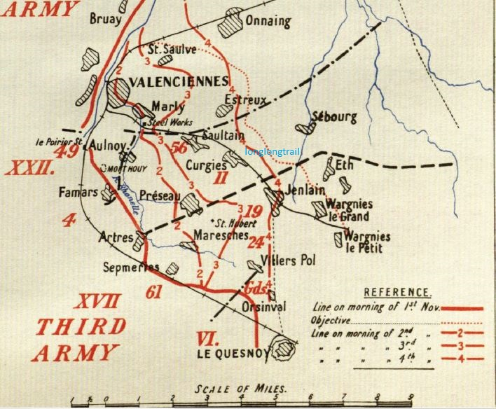 Map from the British Official History, illustrating progress made during he Battle of Valenciennes