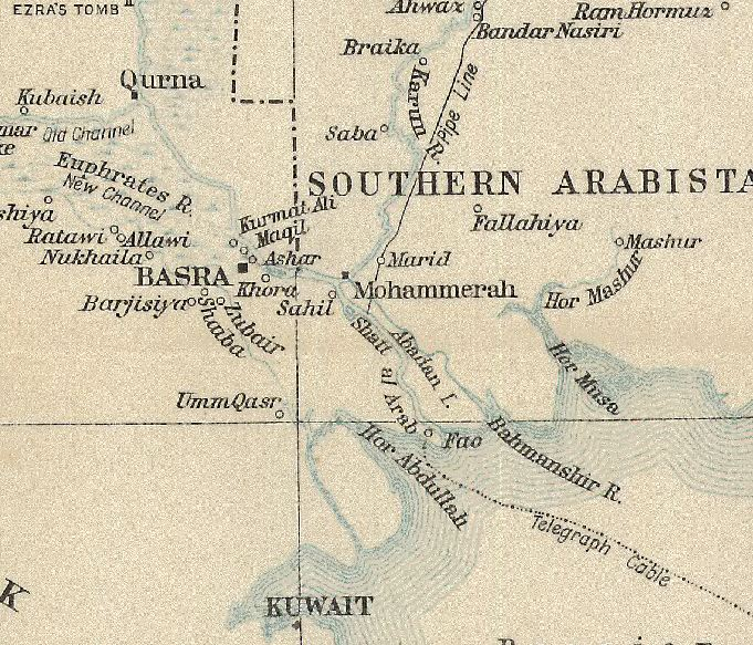 part of a map from the british official history of military operations in mesopotamia crown