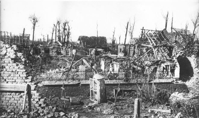 Neuve Chapelle in ruins after the battle. Image http://gallica.bnf.fr/ark:/12148/btv1b6933722m sourced via Europeana, with thanks.