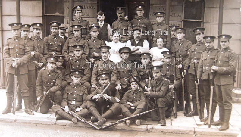 A group of soldiers. Authors collection. Most of the men on this group are Privates. On the extreme right is a Lance Corporal and on the extreme left and centre at the back are two Corporals.