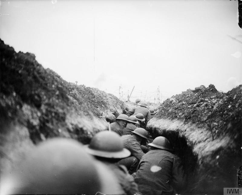 Imperial War Museum image Q5098. A raiding party of the 10th Battalion, Cameronians (Scottish Rifles) waiting in a sap for the signal to go. John Warwick Brooke, the official photographer, followed them in the sap, into which a shell fell short killing seven men. Near Arras, 24 March 1917. A sap was a crude, often shallow and temporary trench leading out from the main firing line into no man's land. It was valuable cover for such a raiding party.