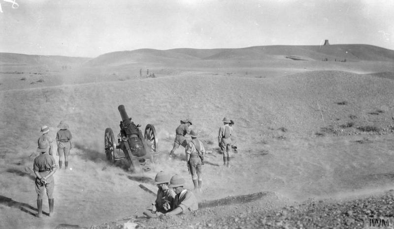 A 6-inch 30 cwt. howitzer in action. IWM image Q24247. No date or location stated by likely to be Palestine.