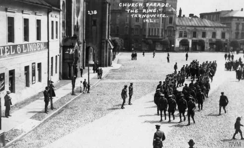 Troops of either the 1st Battalion, Royal Munster Fusiliers or the 1st Battalion, Royal Irish Regiment in the town square of Tarnowskie Góry (Tarnowitz). Photograph probably taken in September 1921. Imperial War Museum image Q54825