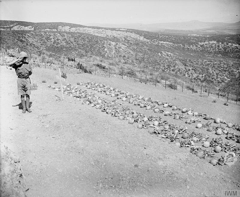 IWM image Q14339. Chunuk Bair, the easternmost point reached by the New Zealanders on the 8th August 1915. The photo shows human remains laid out for burial on the set of the future cemetery where the New Zealand Memorial now stands. The plot lies down the hill a little from creek. Away in the distance, the Narrows can be seen.  The remains of many men who had only been declared as missing during the war were discovered on post-war battlefield clearances.
