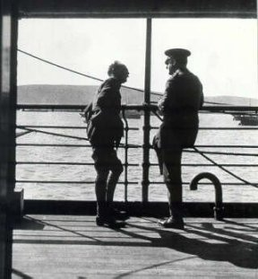 Gen Sir Ian Hamilton (left) and Lt-Col C M H Doughty Wyllie confer on deck. Col Doughty Wyllie was attached to General Headquarters as an Intelligence Officer and was killed in the action which resulted in the capture of Sedd el Bahr on 26 April 1915. IWM photograph HU57775