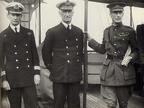 Gen Sir Ian Hamilton (right) with Roger Keyes (left) and Sir John de Robeck