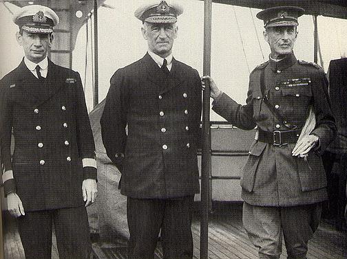 Gen Sir Ian Hamilton (right) with Roger Keyes (left) and Sir John de Robeck