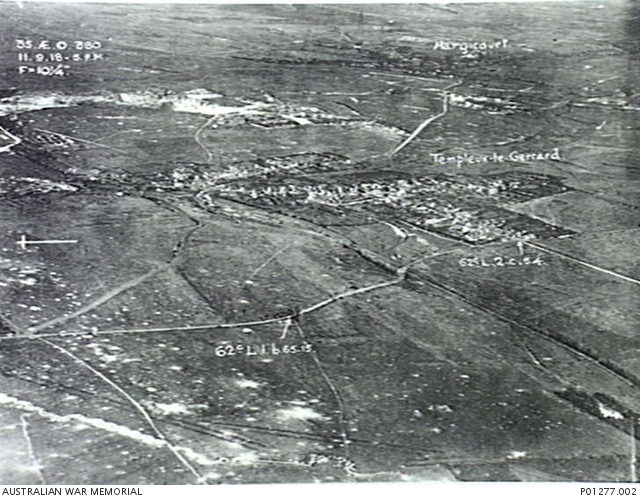 An oblique aerial photograph of Templeux-le-Guerard and Hargicourt. Note the trenches in the foreground. AWM image P01277.002, with thanks.