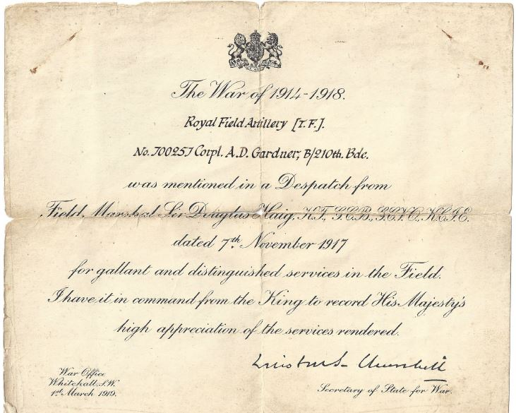 A typical certificate. (Thanks to Isobel Down for the use of this image)