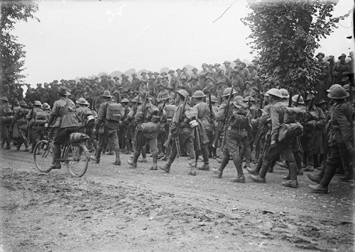 The Battle of the Somme. Australian troops returning from the trenches (having been in action at Pozieres); near Contay, August 1916. From the Ministry of Information First World War Official Collection at the Imperial War Museum, copyright image Q1046,with my thanks.