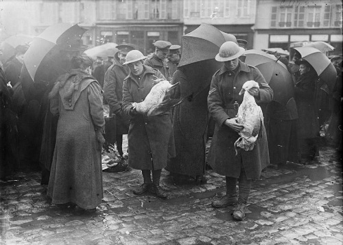 British troops purchasing geese in the market place at Bailleul, for their Christmas dinner in December 1916. From the Ministry of Information First World War Official Collection at the Imperial War Museum, copyright image Q1629,with my thanks.