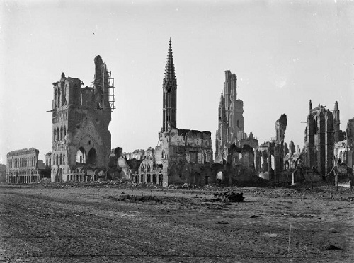 The ruins of the Cloth Hall (Lakenhalle) and St Martin's Cathedral in Ypres, 23 January 1916. From the Royal Engineers Collection at the Imperial War Museum, copyright image Q29056,with my thanks.