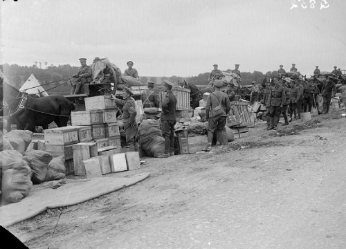 Drawing rations at an Army Service Corps dump at Acheux, June 1916. From the Ministry of Information First World War Official Collection at the Imperial War Museum, copyright image Q852,with my thanks.