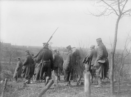 During the German Retreat to the Hindenburg Line. Bringing in German prisoners near St. Quentin, April 1917. From the Ministry of Information First World War Official Collection at the Imperial War Museum, copyright image Q1982,with my thanks.