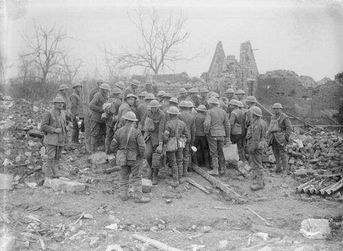 British troops at a well in Tilloy (a village in the Arras area captured early in the Battle of Arras in April 1917) on 26 May 1917. From the Ministry of Information First World War Official Collection at the Imperial War Museum, copyright image Q2218,with my thanks.