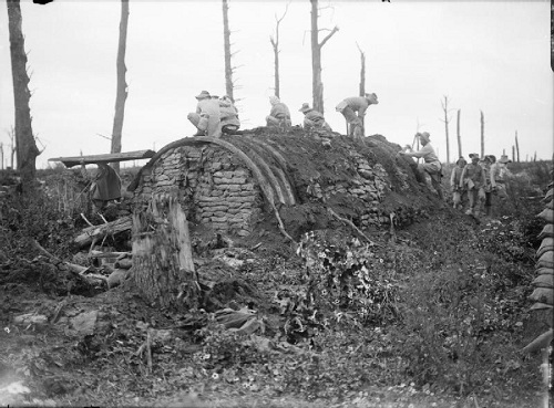 On the old Somme battlefield of 1916. Burmese troops dismantling old dug-outs in Delville Wood for the salvaging of materials, 2 September  1917. From the Ministry of Information First World War Official Collection at the Imperial War Museum, copyright image Q2780,with my thanks.