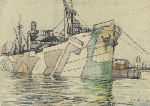 A merchant transport ship, painted with a dazzle camouflage scheme, ups anchor to leave Portsmouth harbour in February 1918. On the right the dockside is visible with a few buildings in the background. By Geoffrey Stephen Allfree. From the Art Collection at the Imperial War Museum, copyright image IWM ART 771,with my thanks.