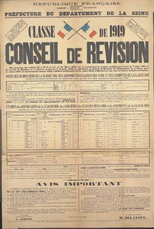 """A poster advertising the military call up of the Class of 1919 in France. It reads """"Class of 1919. This poster must not be covered up or destroyed before 15 March 1918. Recruiting Board. Pursuant to Articles 16 and 17 of the Law of 21 March 1905 on Army recruitment, amended by the Law of 7 August 1913 and by the decree of the Minister for War dated 4 January 1918, the operations of the Recruiting Board of the Seine department, for the class of 1919, the deferred recruits from the classes of 1913 to 1918 and the exempted recruits from the class of 1918 will be carried out on the days and at the times indicated below: Visiting youths from the class of 1919, deferred recruits from the classes of 1913 to 1918 and exempted recruits from the class of 1918 [tables and text follow, explaining the actions required to comply with the new laws regarding conscription]. By the Prefect: The Secretary General of the Prefecture, L. Aubanel. Paris, 19 January 1918. The Prefect of Seine, M. Delanney."""" From the Art Collection at the Imperial War Museum, copyright image Art.IWM PST 6750,with my thanks."""