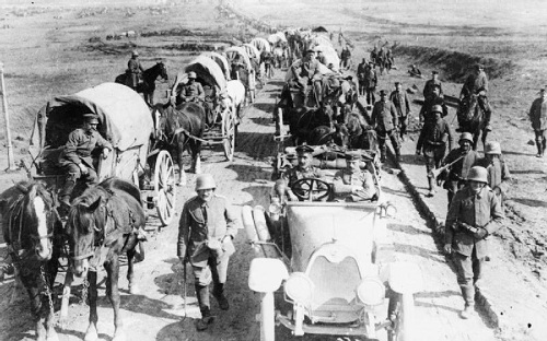 "A German transport column moving forward along the Albert - Bapaume road during the ""Operation Michael"" offensive in late March 1918. From the German First World War Official Exchange Collection at the Imperial War Museum, copyright image IWM Q60474, with my thanks."
