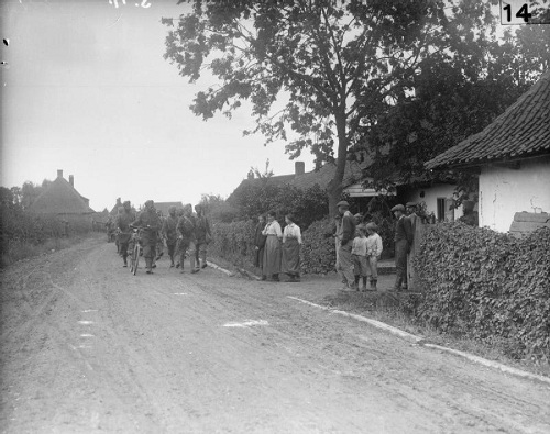 A company of the 15th Sikhs returning from the line though a French village in August 1915. From the Royal Engineers Collection at the Imperial War Museum, copyright image Q28804, with my thanks.