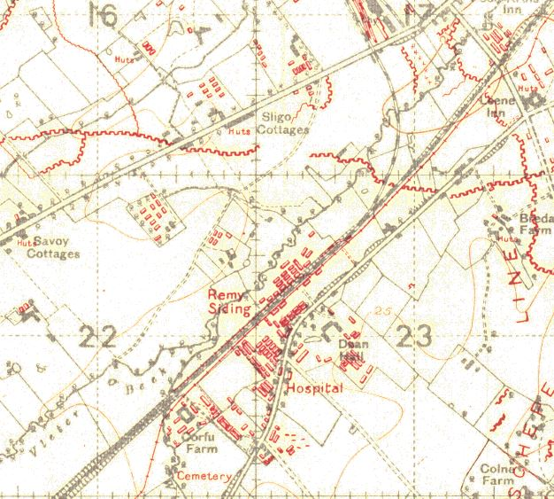"A 1918 map showing the cemetery. Note that the N38 road did not exist at the time: it has been laid over the line of a railway that brought casualties to Lijssenthoek from Ypres. Note too that ""In de Leene"""